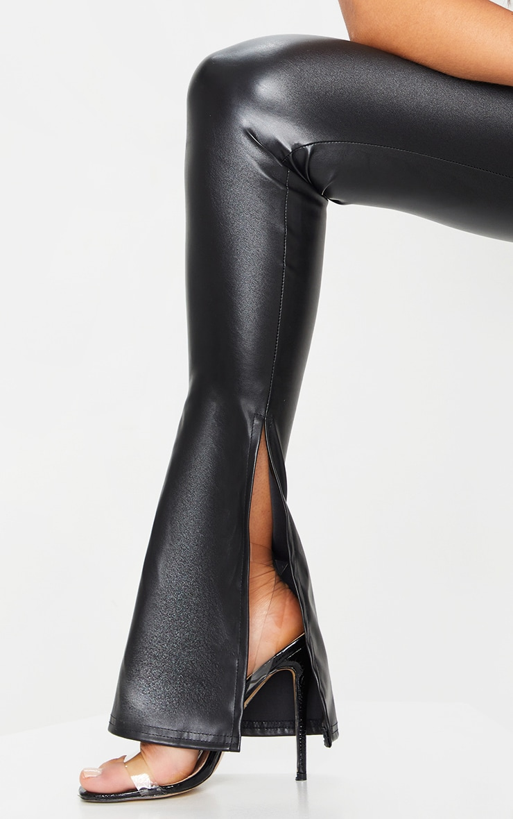 Black Kick Flare Faux Leather Leggings 4