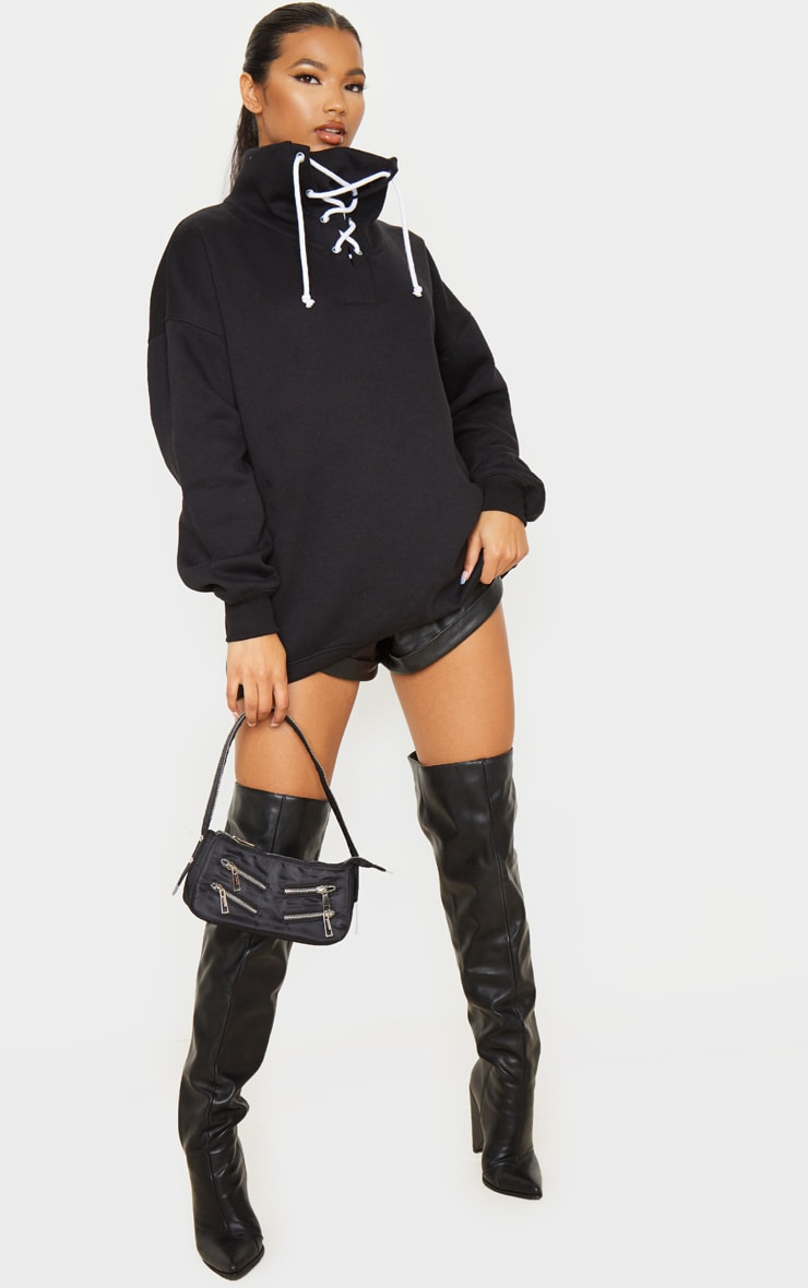 Black Lace Up High Neck Sweater 4