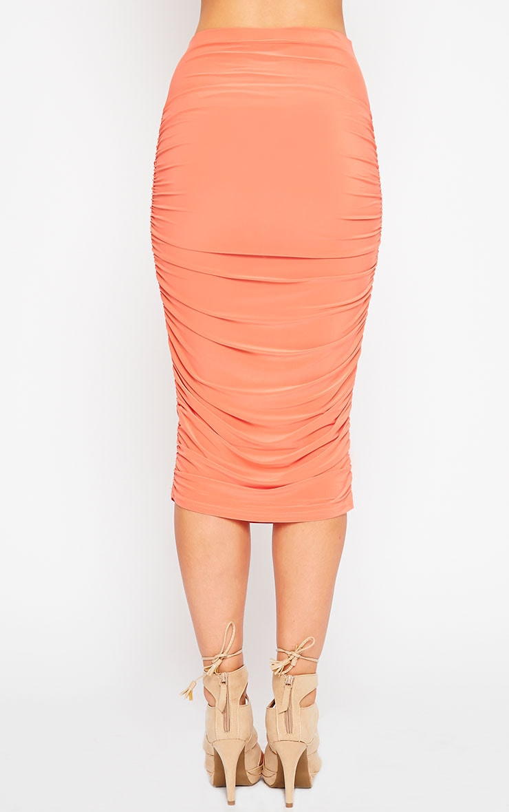 Saylor Orange Slinky Gathered Midi Skirt 4