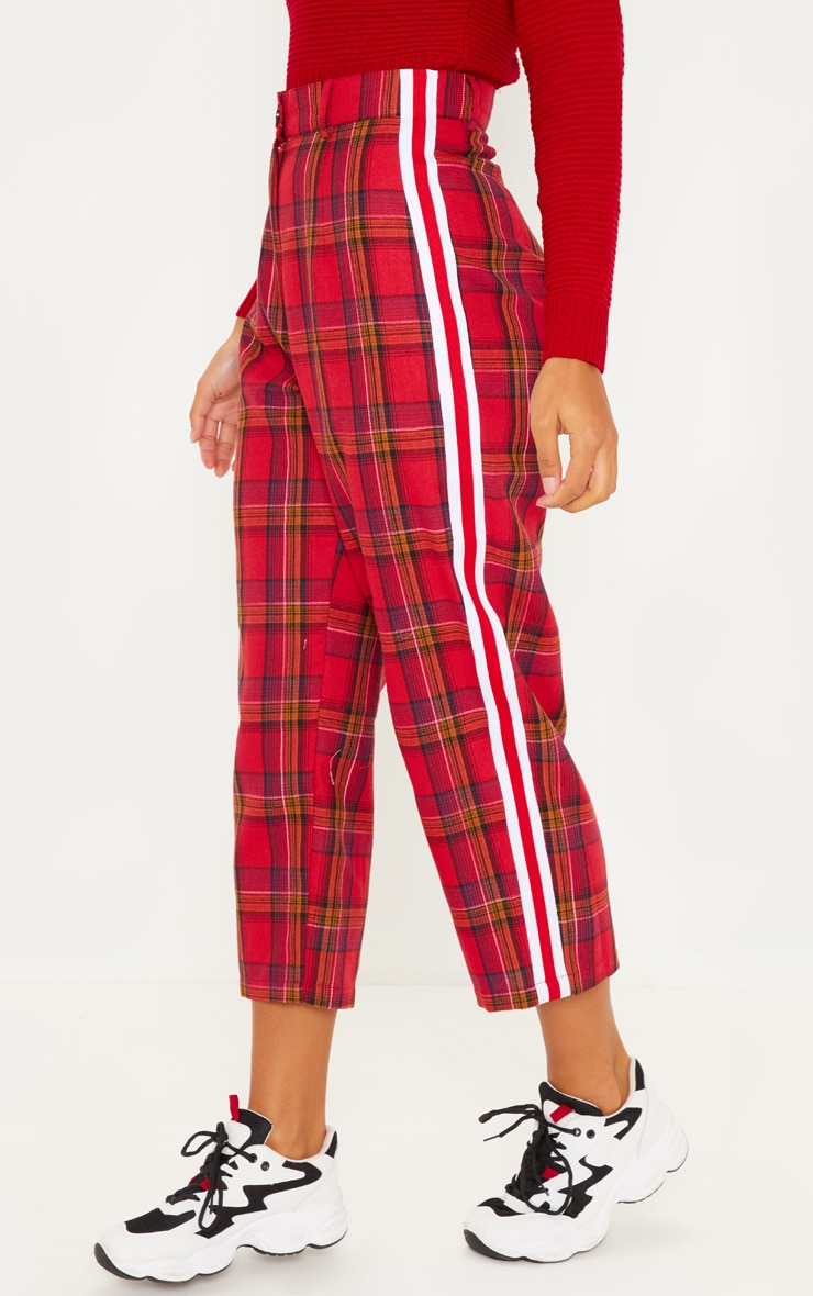 Red Side Tape Check Culotte 2