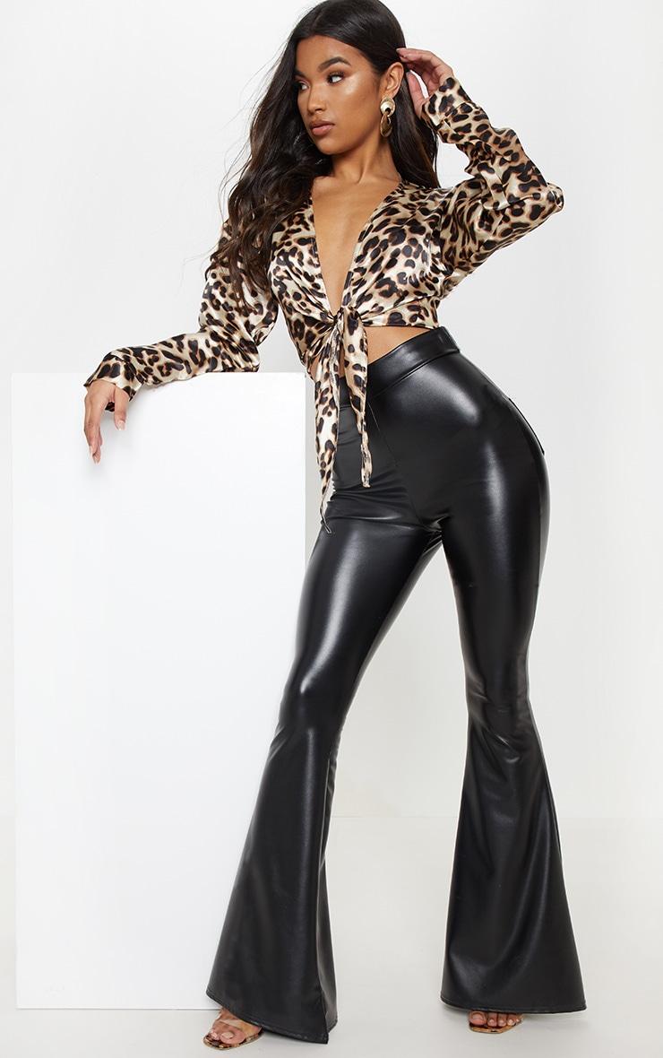 Brown Leopard Print Tie Blouse 1