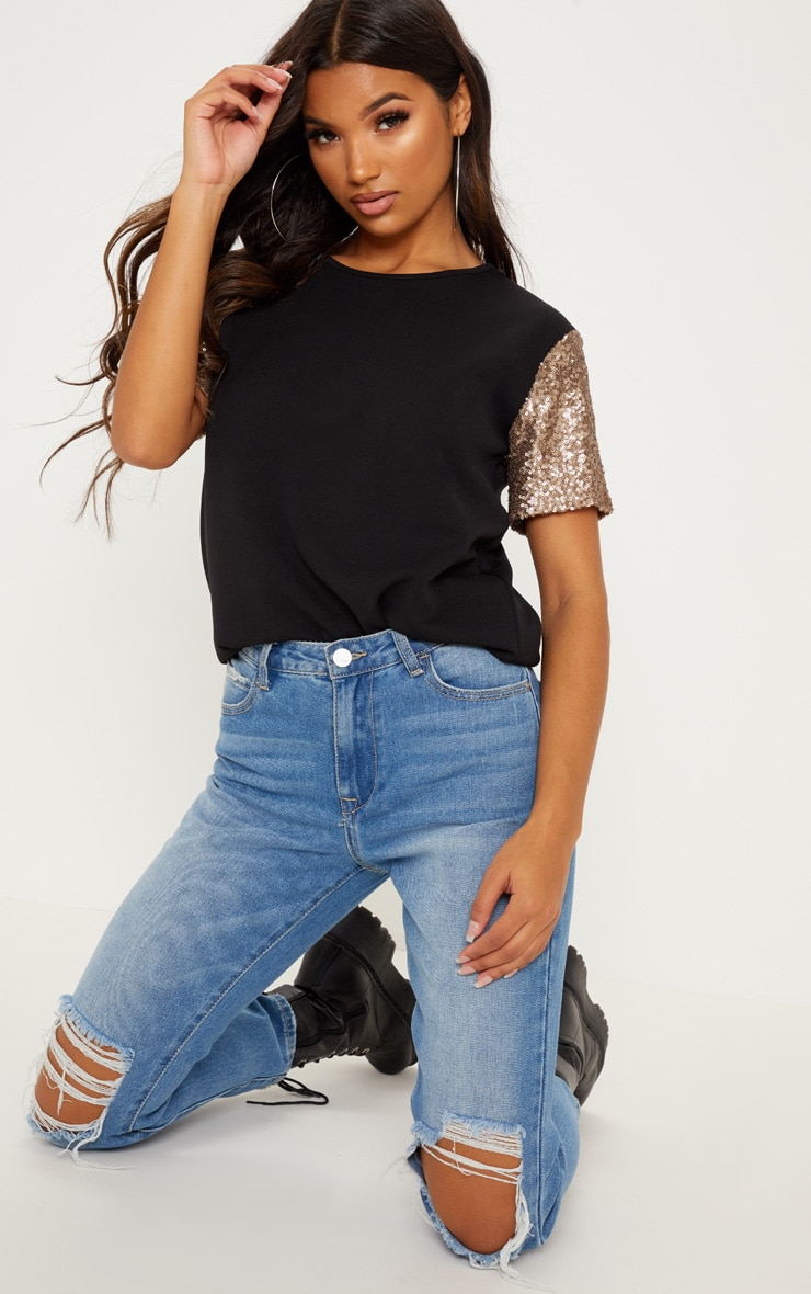black sequin sleeve oversized t shirt
