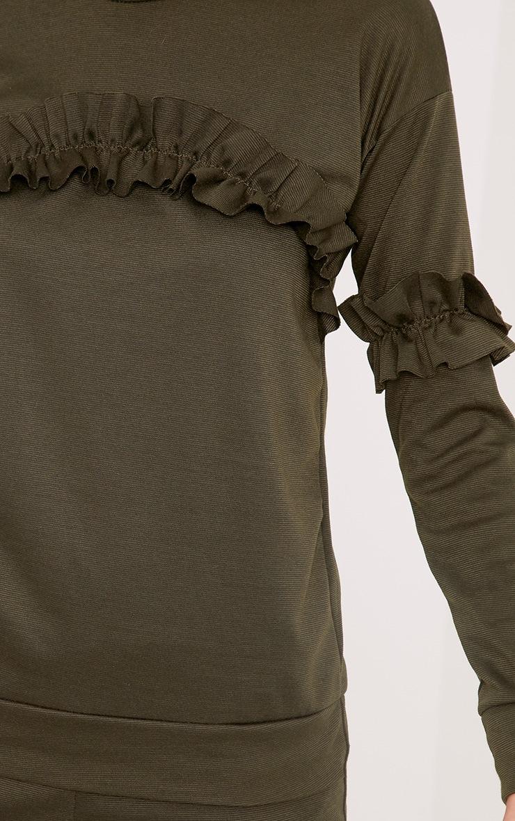 Anabell Khaki Frill Sweater 4