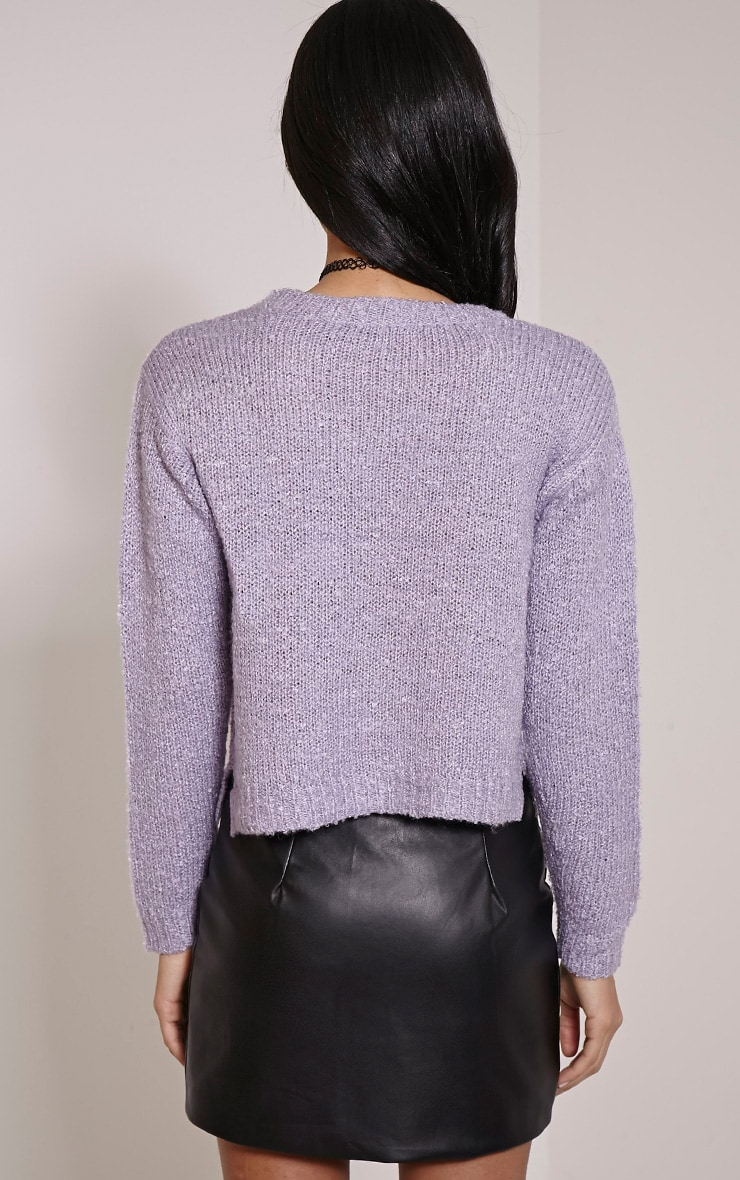 Karissa Lilac Boucle Knitted Jumper 2