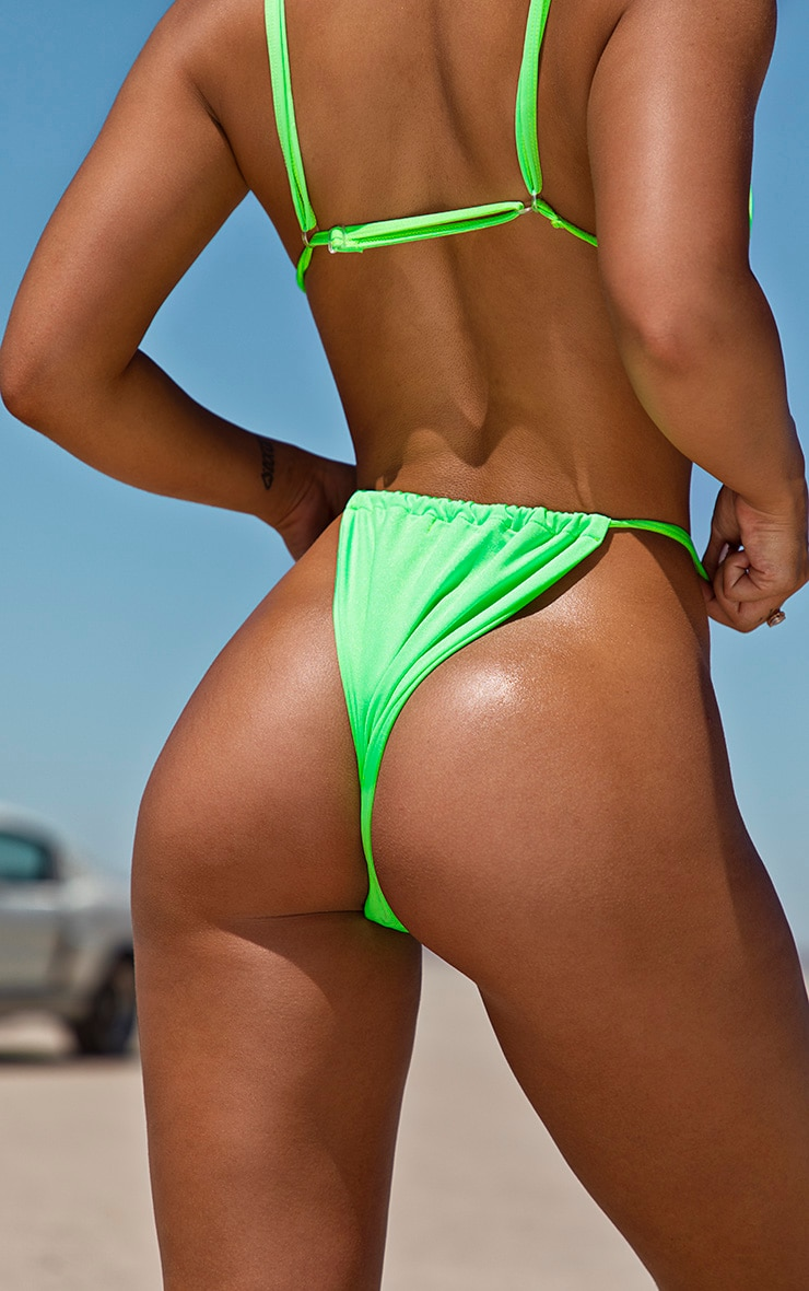 Neon Green Tanga Adjustable Bikini Bottom 4