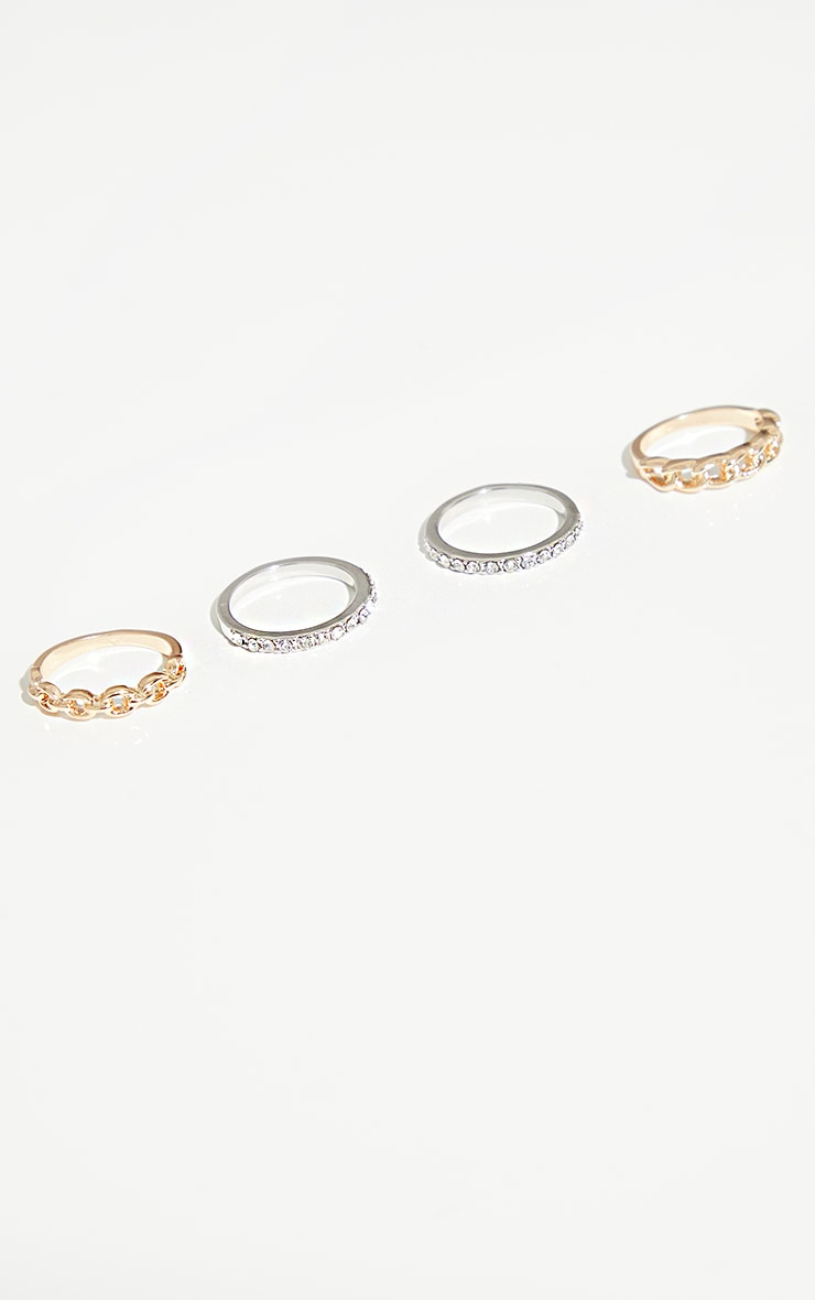Gold And Silver Chain And Diamante 4 Pack Rings 3
