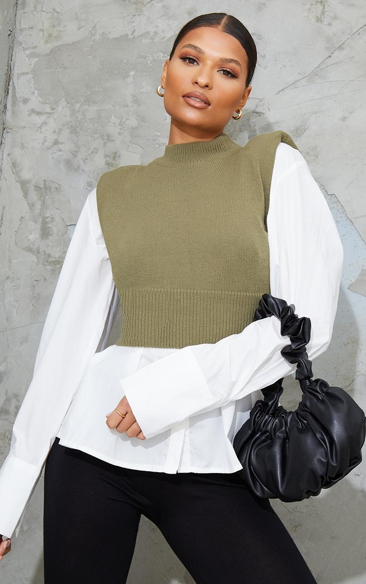 Khaki Sleeveless Shoulder Pad Knitted Top image 1