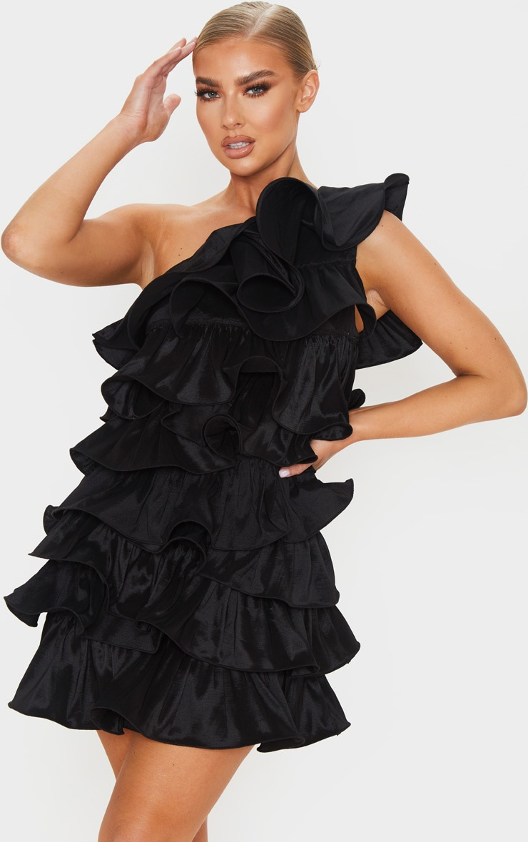 Black One Shoulder Tiered Frill Shift Dress 1
