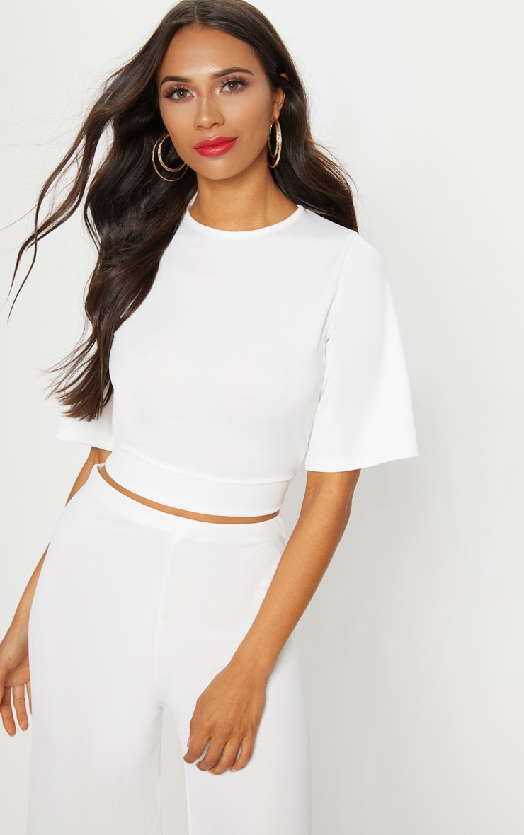 White Crepe Tie Back Crop Top 4