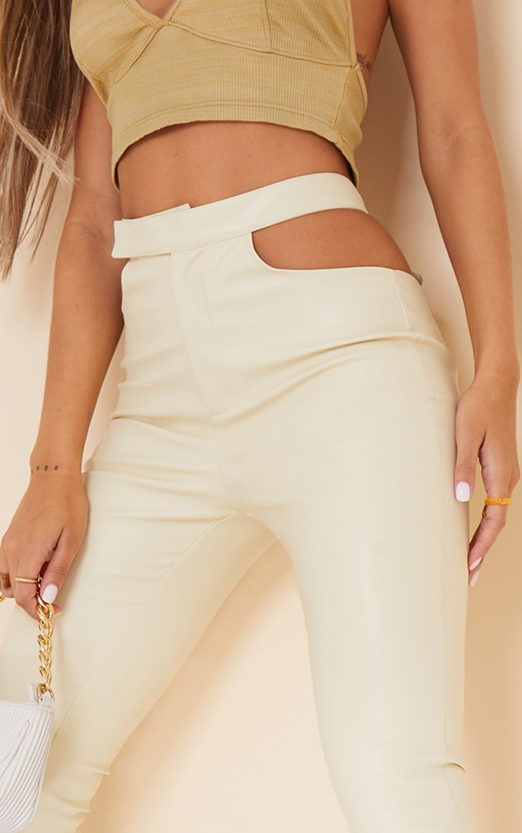 Cream Faux Leather Cut Out Detail Skinny Trousers 4