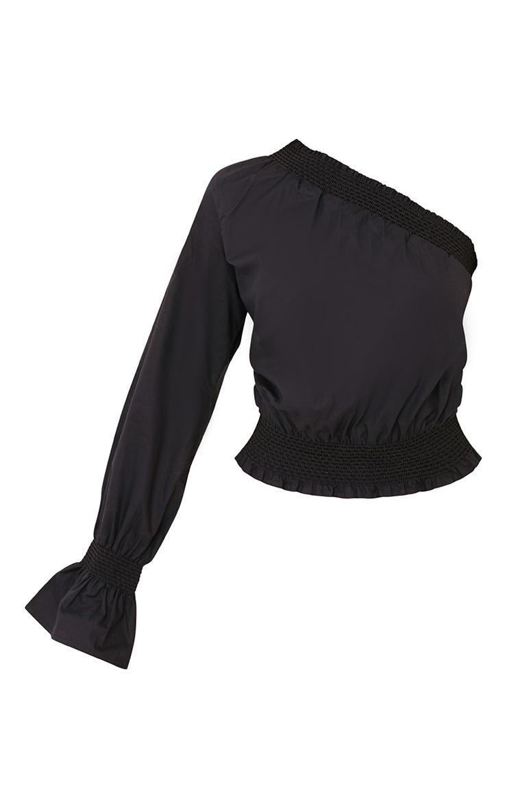 Macey Black One Shoulder Smocked Cotton Blouse 3