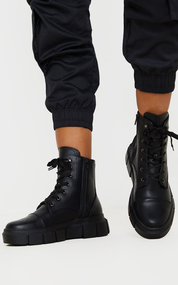 Black High Ankle Lace Up Chunky Boot 1