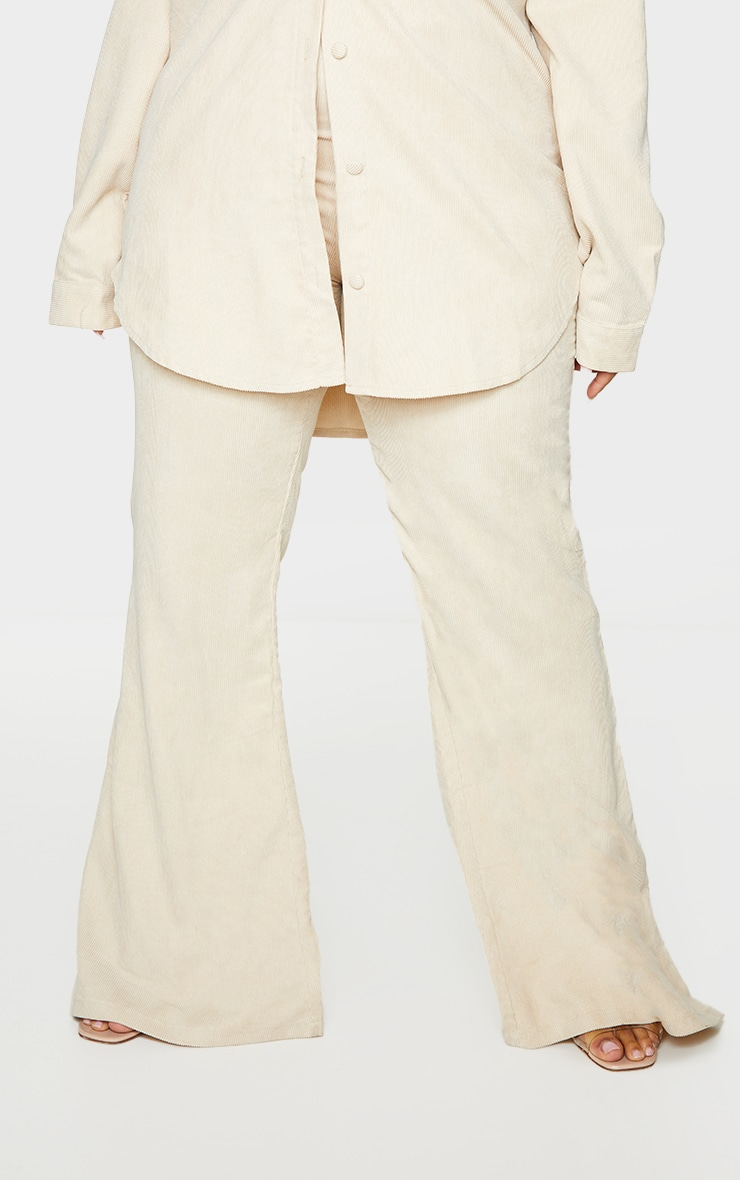Plus Cream Cord Flared Pants 2