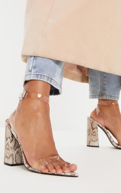 Snake Clear Strap Block Heel Point Toe Sandal