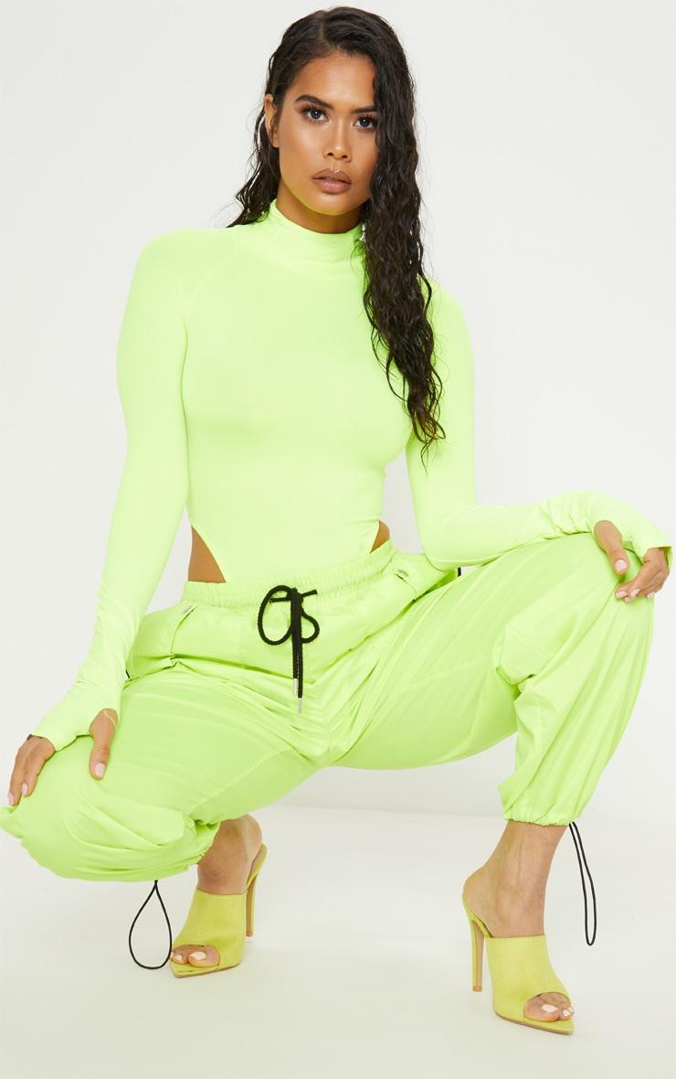 Neon Yellow Slinky High Neck Long Sleeve Bodysuit  5
