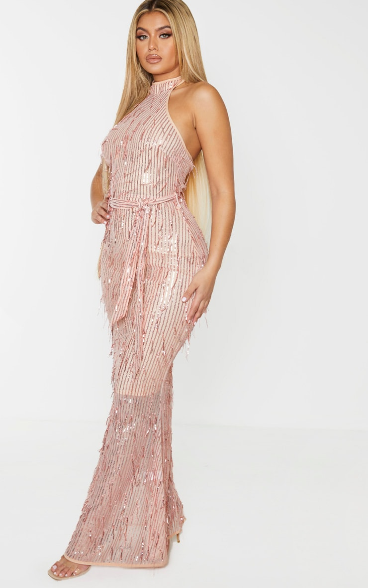 Rose Gold Tassel Sequin High Neck Maxi Dress 4