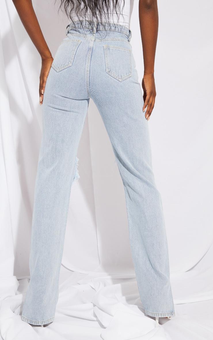 Tall Light Blue Distressed Knee Split Hem Denim Jean 3