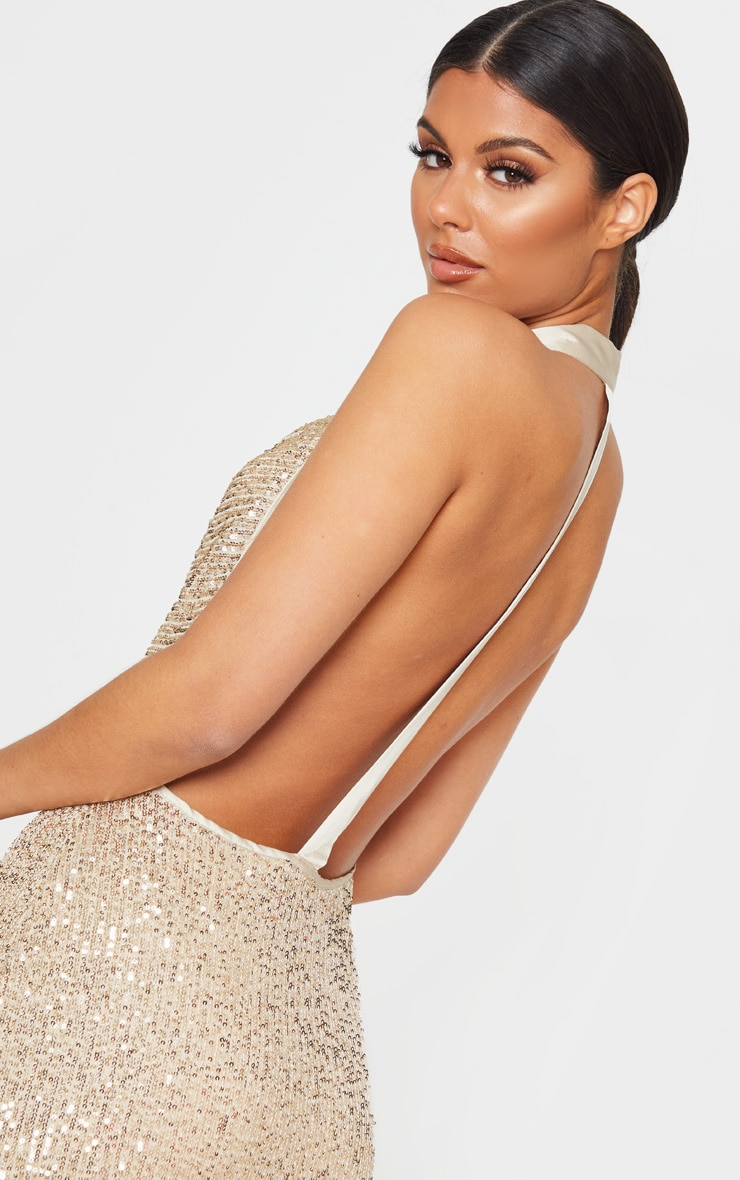 Gold Sequin Back Detail Maxi Dress 5