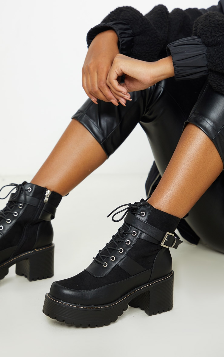 Black Cleated Platform Ankle Buckle Lace Up Ankle Boot 1