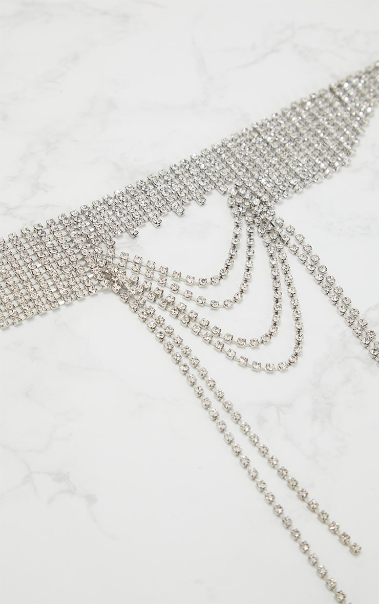 Silver Diamante Oversized Statement Drop Choker 3