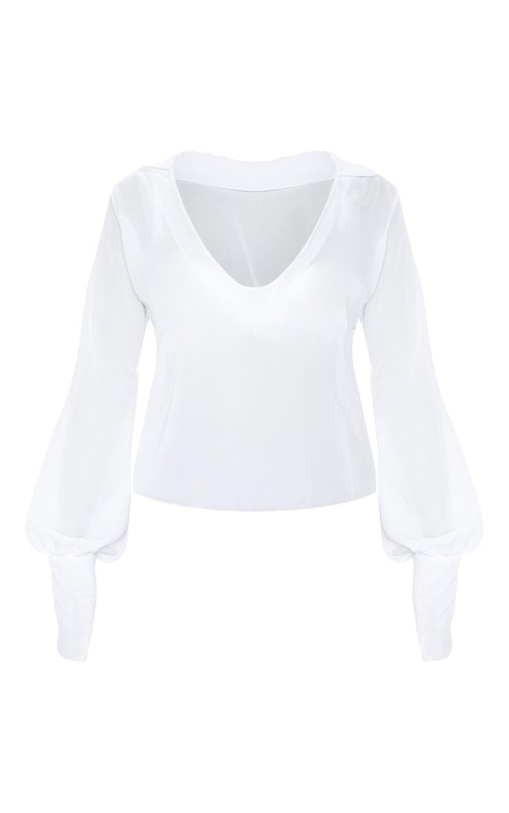 White Sheer Bell Sleeve Blouse  3