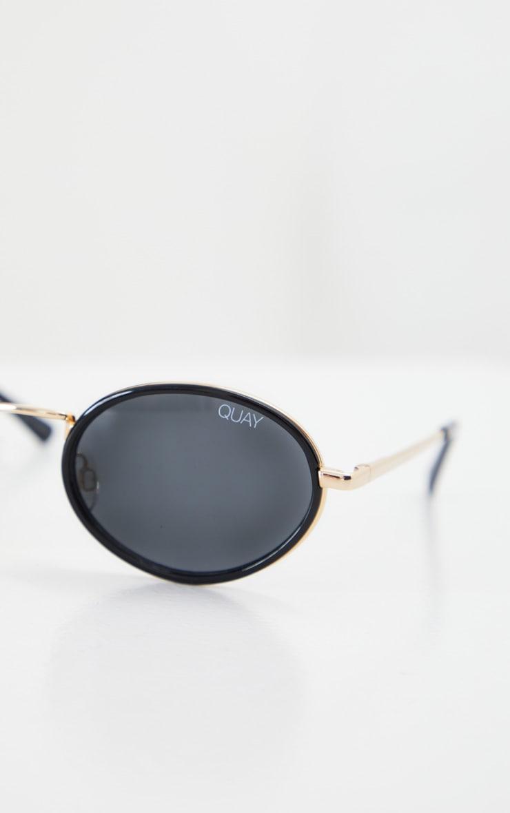 QUAY AUSTRALIA Black Round Gold Bar Line Up Sunglasses 3