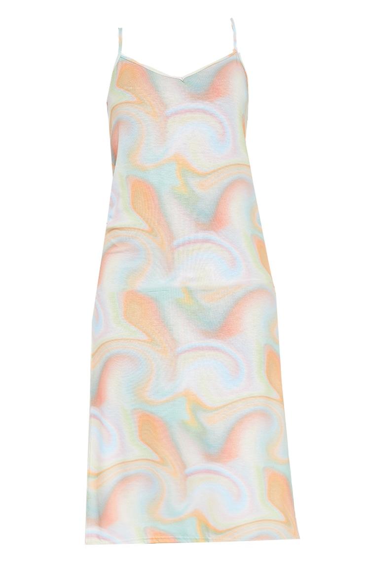 Multi Pastel Marble Print Jersey Split Cami Midi Dress 5