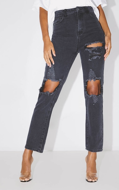 PRETTYLITTLETHING Washed Black Distressed Straight Leg Jean