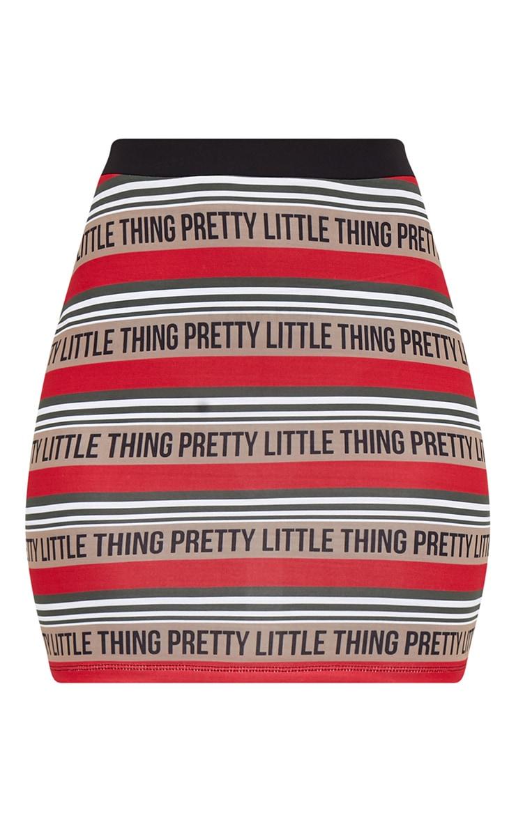 PRETTYLITTLETHING Red Slinky Stripe Mini Skirt  3