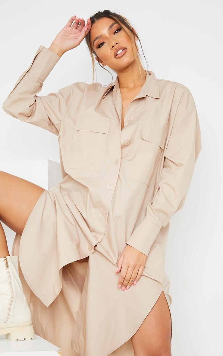 Stone Deep Pocket Drop Hem Midi Shirt Dress 4
