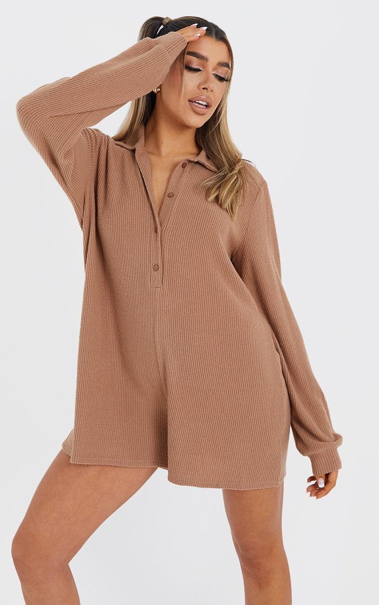 Camel Brushed Rib Oversized Shirt Playsuit