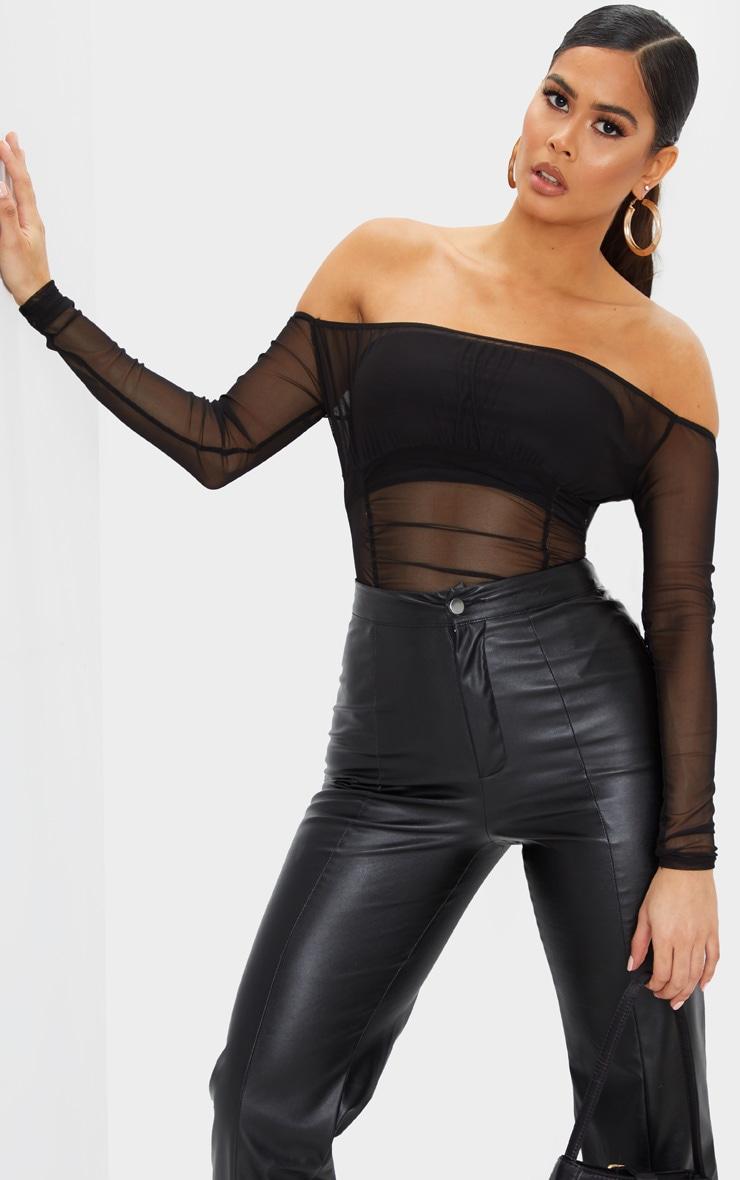 Black Sheer Gathered Bardot Bodysuit 1
