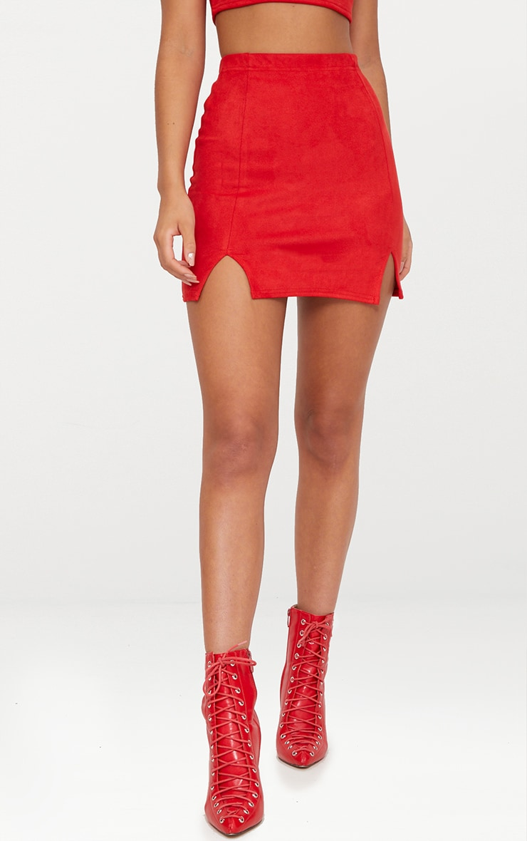 Red Faux Suede Side Split Mini Skirt 3