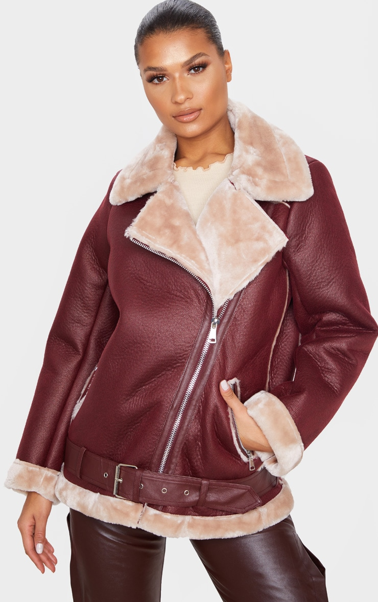 Burgundy PU Oversized Aviator Jacket 4
