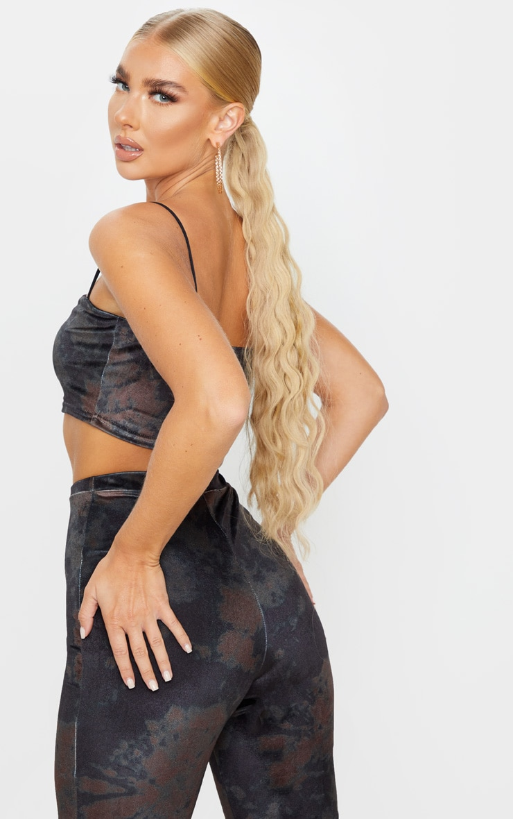 Black Tie Dye Velvet Strappy Crop Top 2