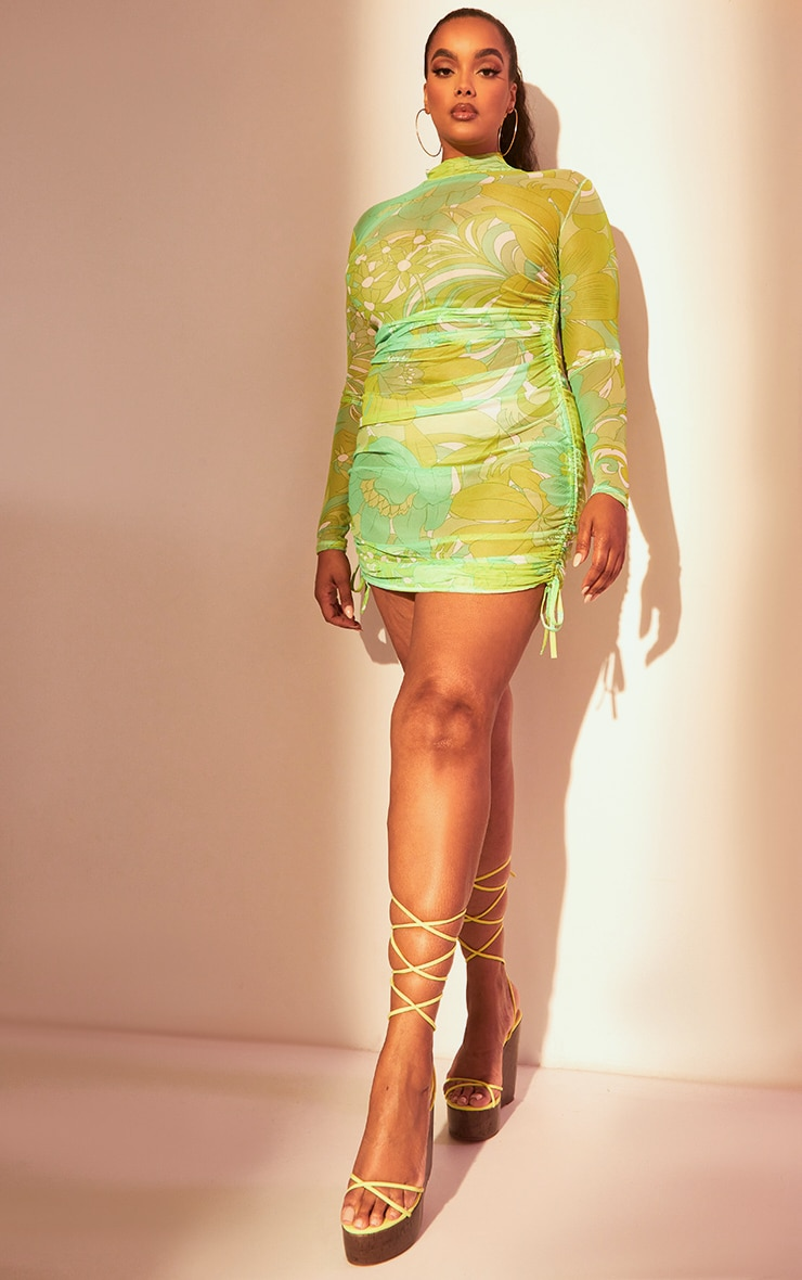 Plus Lime Floral Mesh Ruched Bodycon Dress 3