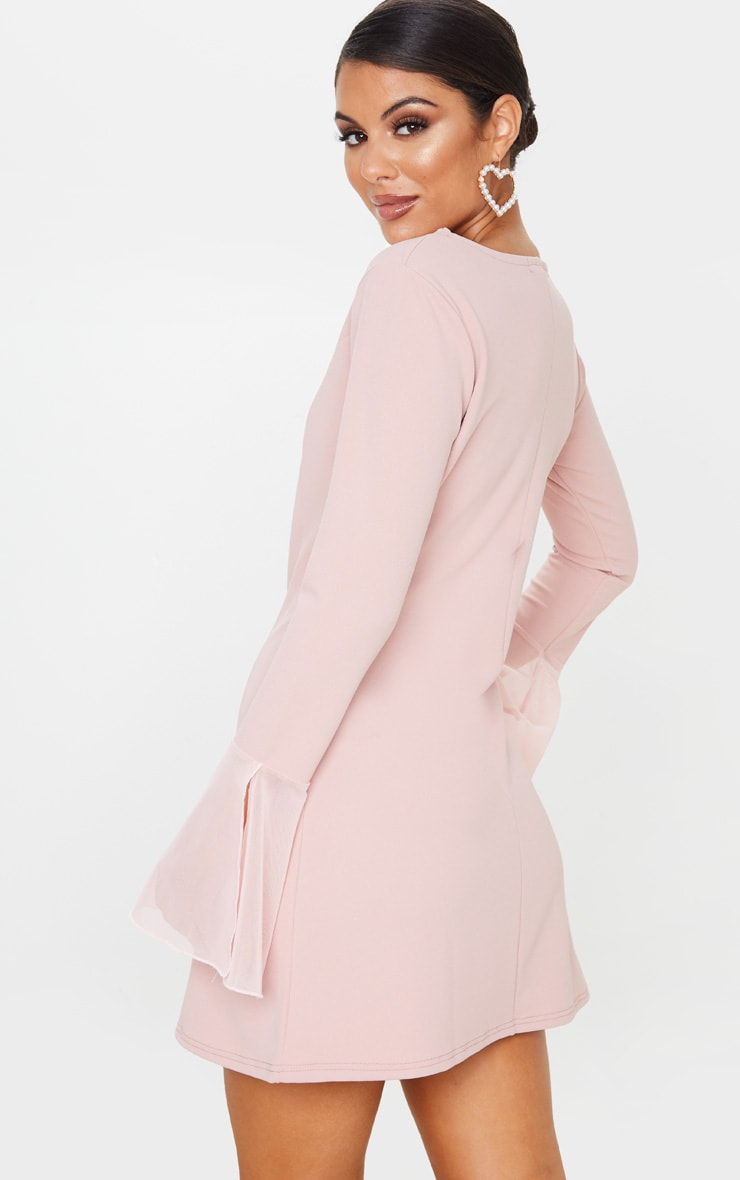 Dusty Rose Frill Sleeve Detail Shift Dress 2