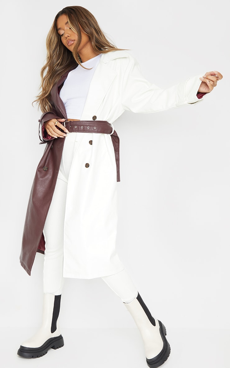 Chocolate Faux Leather Contrast Panel Front Trench 1