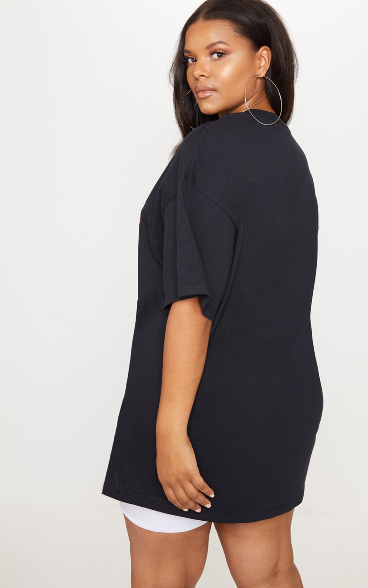 Plus Black Lamour Slogan Foil Print T Shirt 2