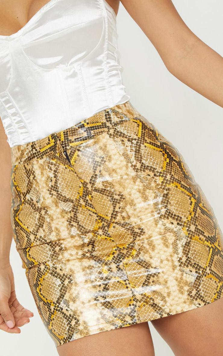 Brown Snakeskin Faux Leather Mini Skirt  6