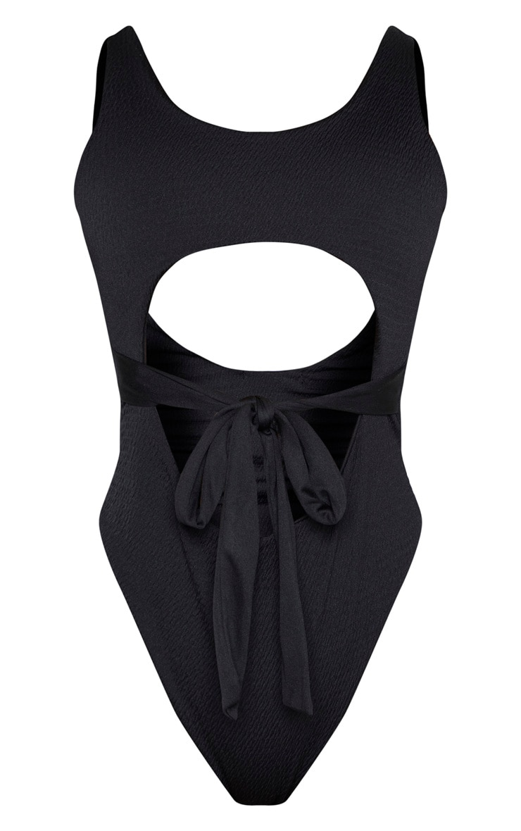 Black Crinkle Cut Out Belted Swimsuit 3