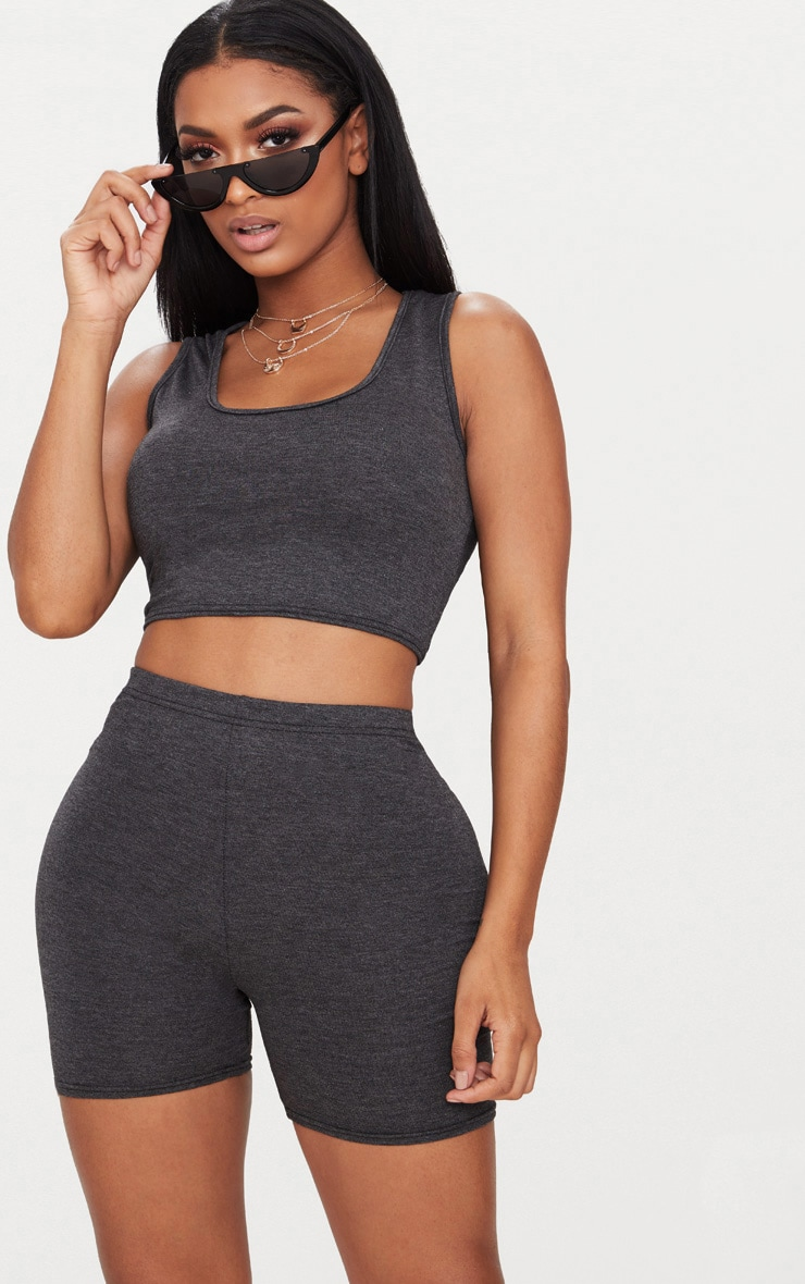 Shape Charcoal Jersey Scoop Neck Crop Top 1
