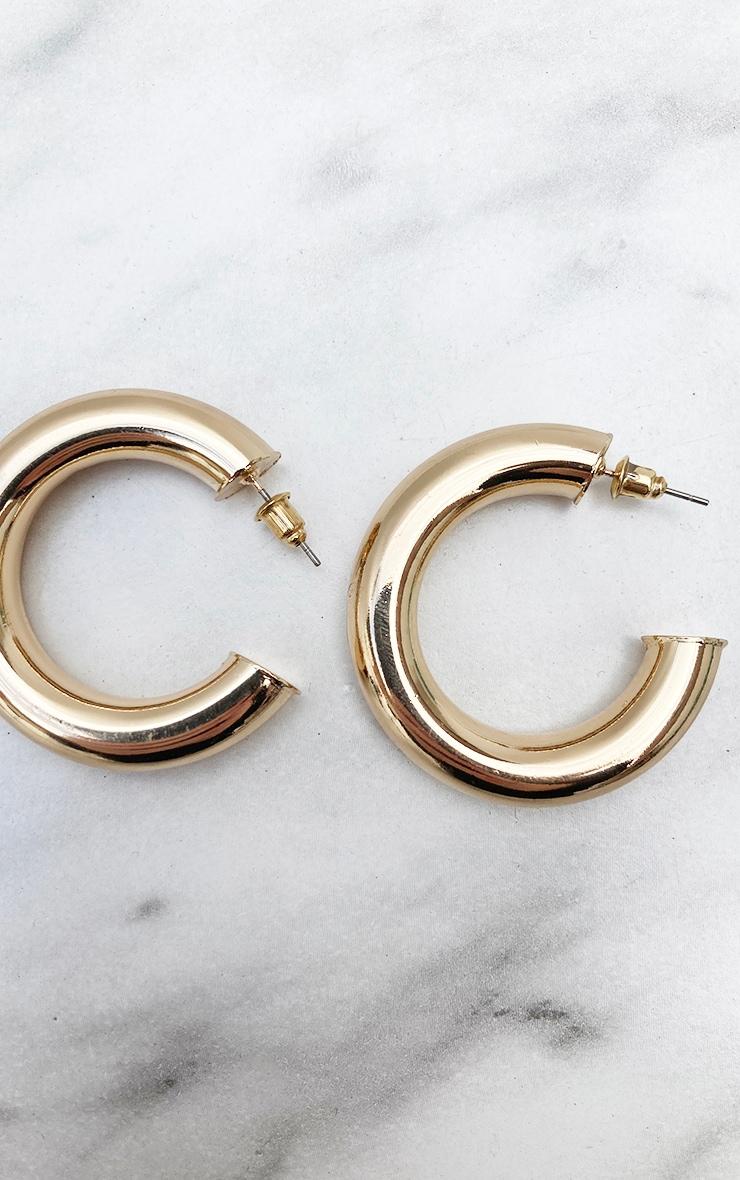 Gold Chunky Tubular Earrings 4