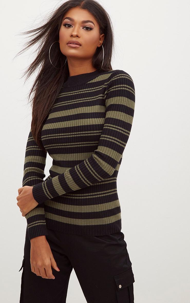 Black Stripe Knitted Jumper 1