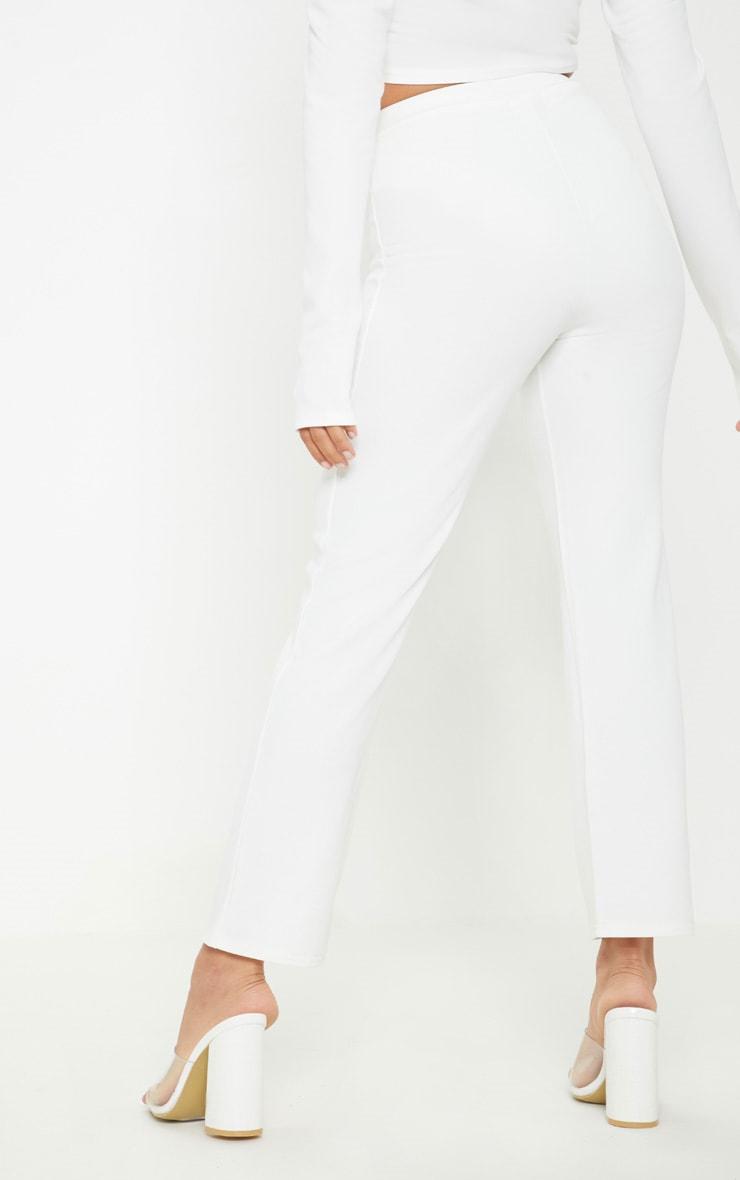 Petite White Kick Flare Pants 4