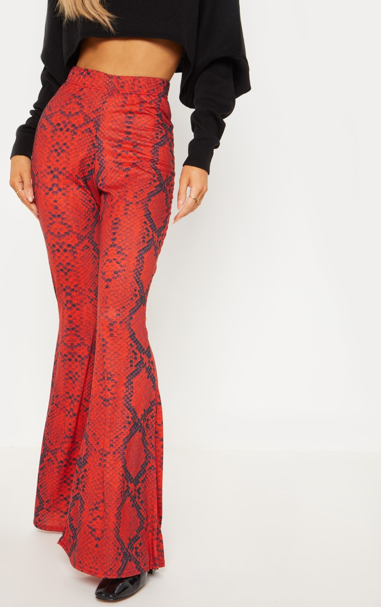 Red Jersey Snakeskin Flared Trouser 2