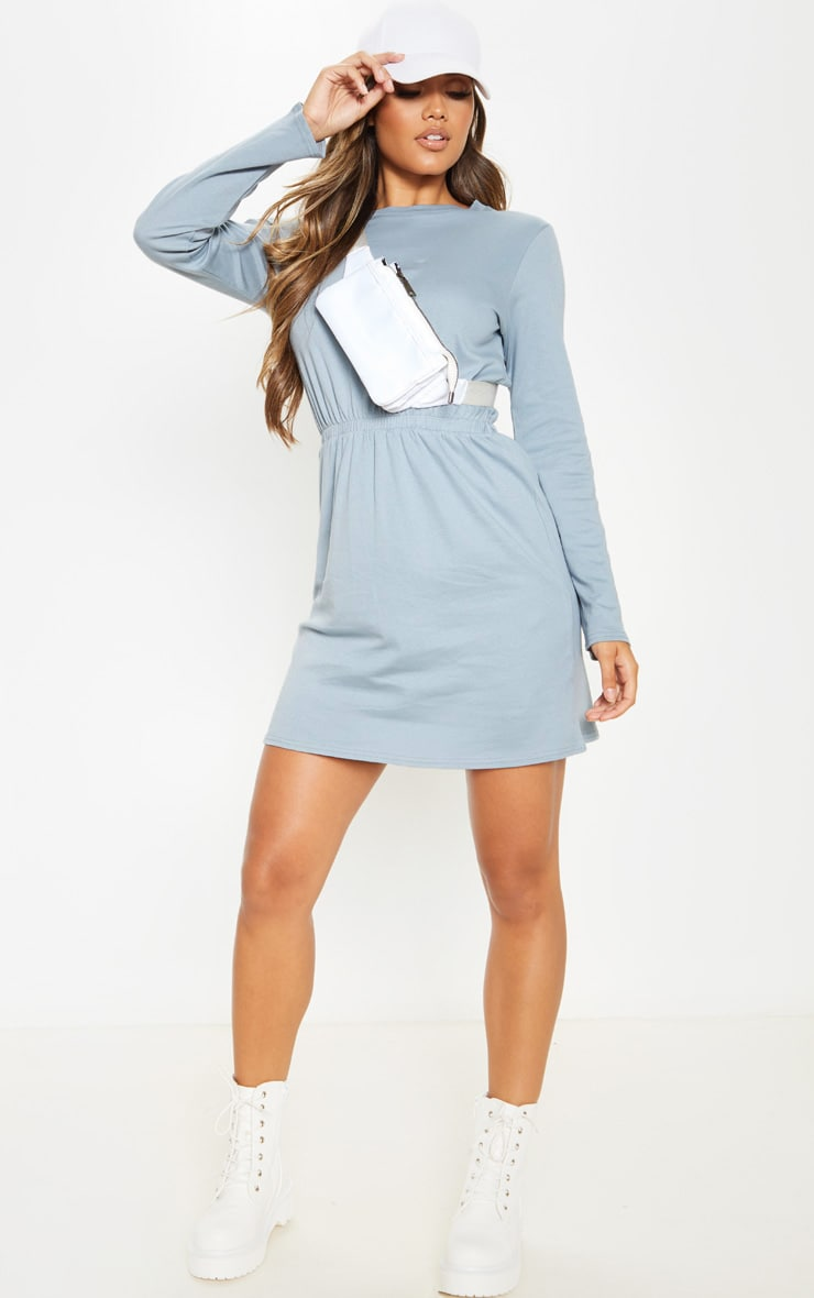 Lead Grey Elasticated Waist Long Sleeve T Shirt Dress 4
