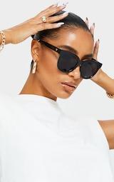Black Glossy Round Sunglasses 1