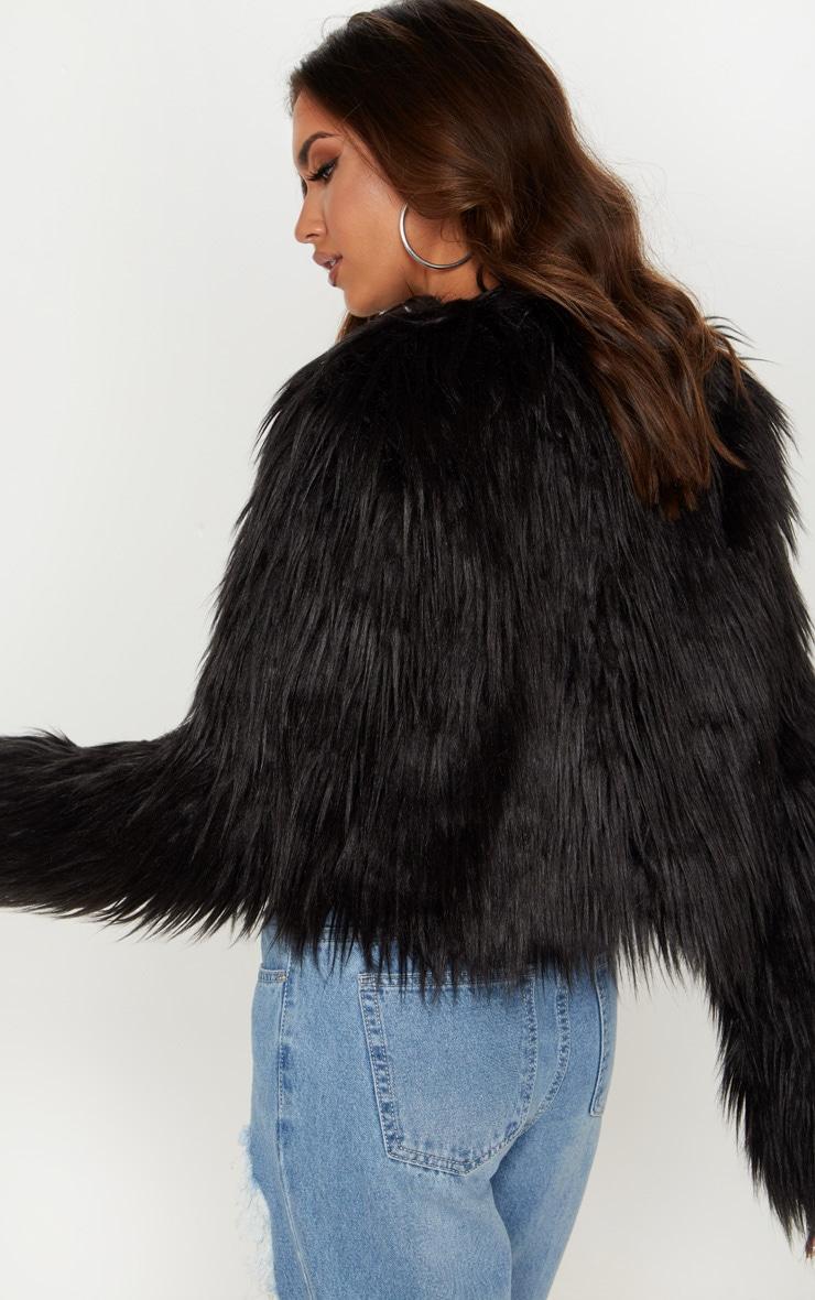 Liddie veste courte en fausse fourrure noire 2