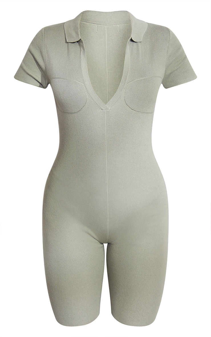 Sage Green Premium Ribbed Knitted Bust Detail Playsuit 5